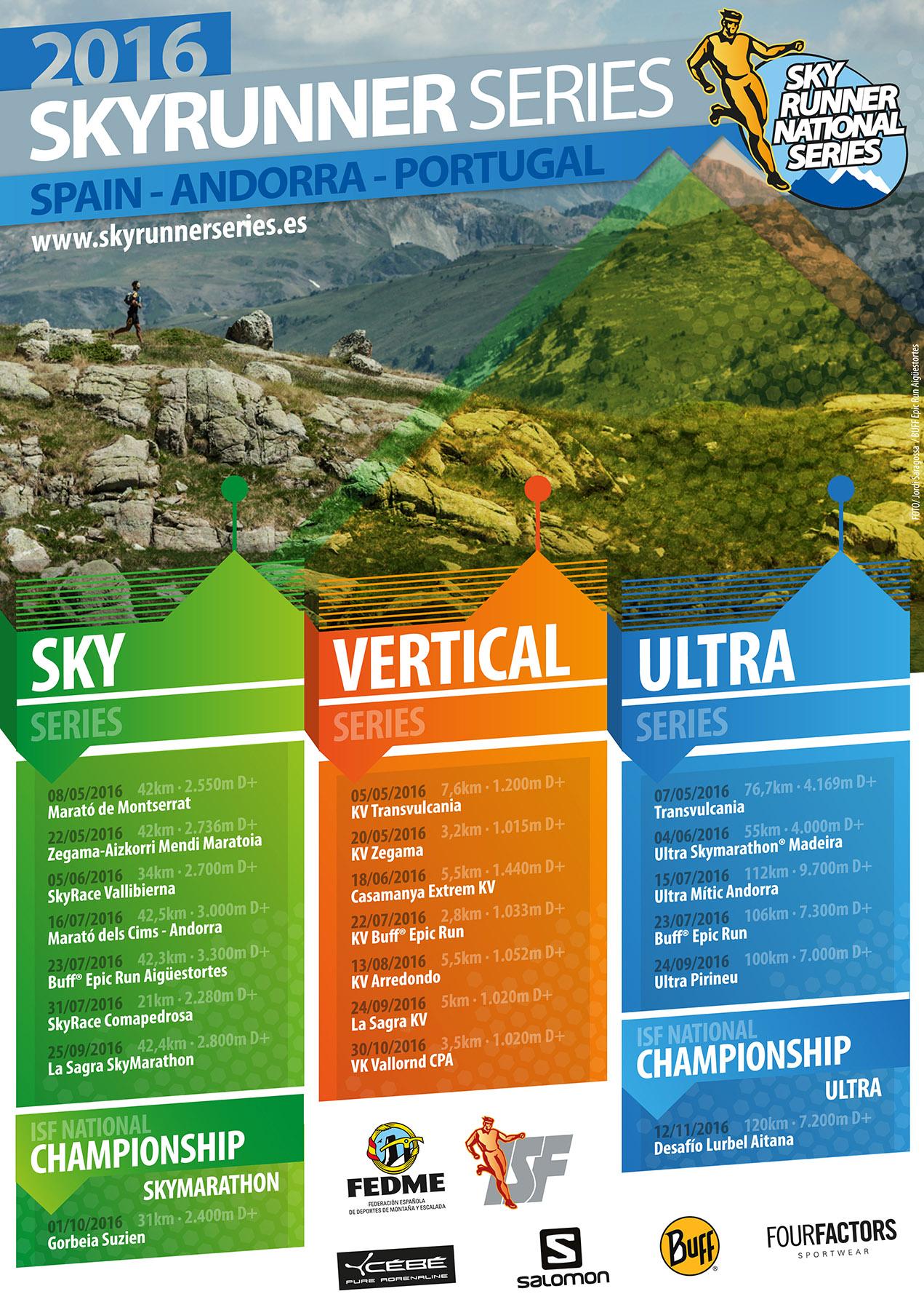 Calendario 2016 de las Skyrunner National Series Spain, Andorra & Portugal ISF