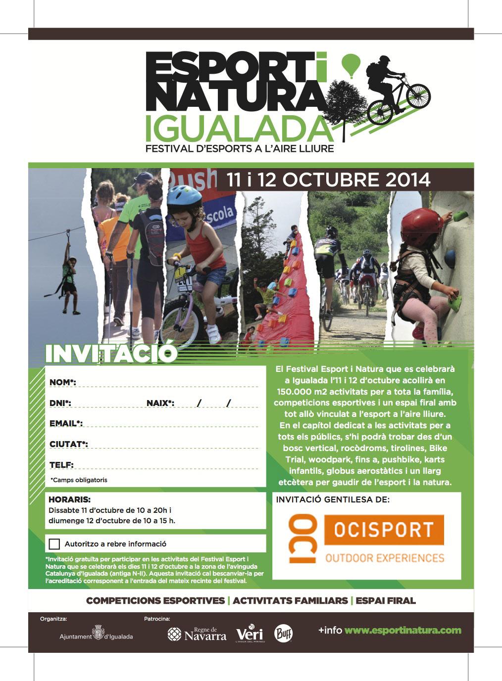 Ocisport et convida a gaudir d'un complet cap de setmana de lleure i esport per a tota la família al festival Esport i Natura